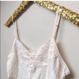 White Cream Lace Trimmed Crinkle Camisole